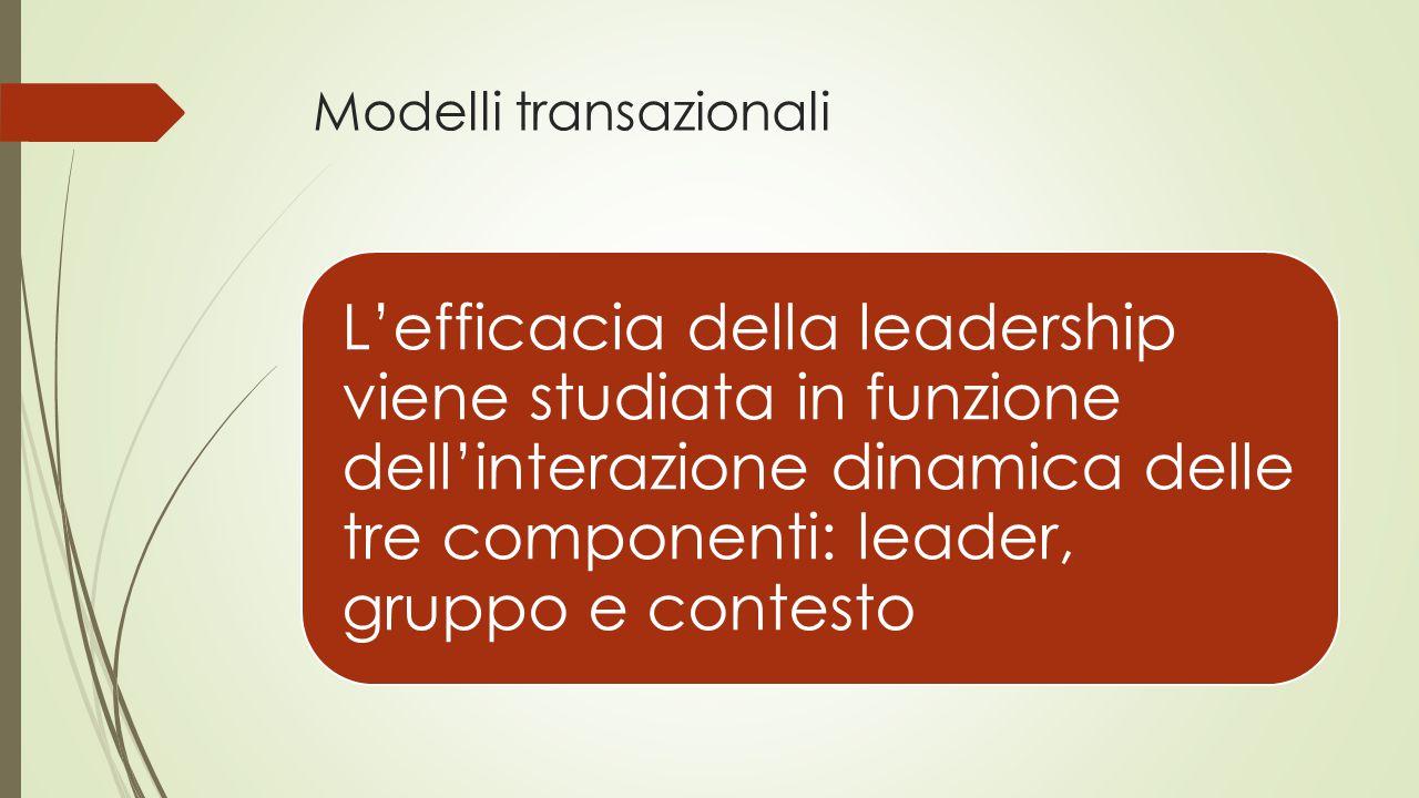 Modelli transazionali L'efficacia della leadership viene studiata in funzione dell'interazione dinamica delle tre componenti: leader, gruppo e contesto