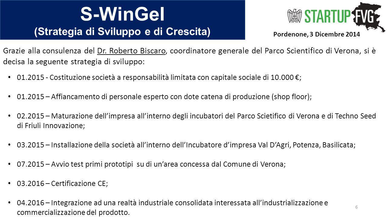 S-WinGeI (Strategia di Sviluppo e di Crescita) Pordenone, 3 Dicembre 2014 6 01.2015 - Costituzione società a responsabilità limitata con capitale soci