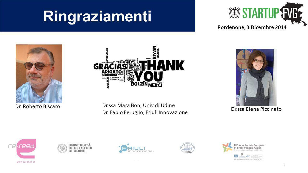 Ringraziamenti Pordenone, 3 Dicembre 2014 8 Dr. Roberto Biscaro Dr.ssa Elena Piccinato Dr.ssa Mara Bon, Univ di Udine Dr. Fabio Feruglio, Friuli Innov