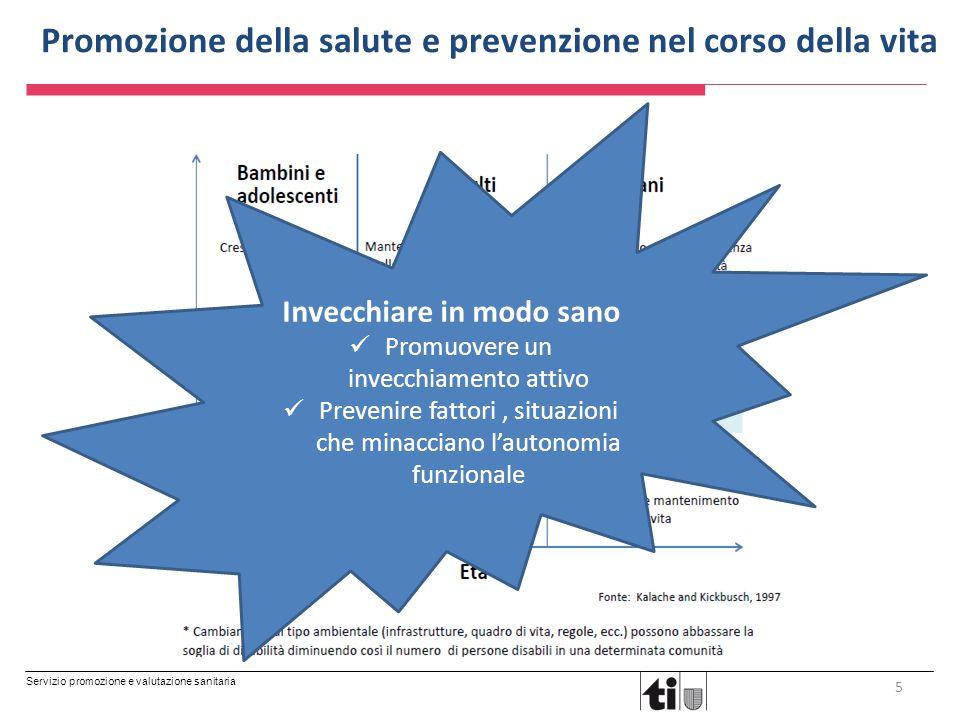 Servizio promozione e valutazione sanitaria Promozione della salute e prevenzione nel corso della vita 5 Invecchiare in modo sano Promuovere un invecc