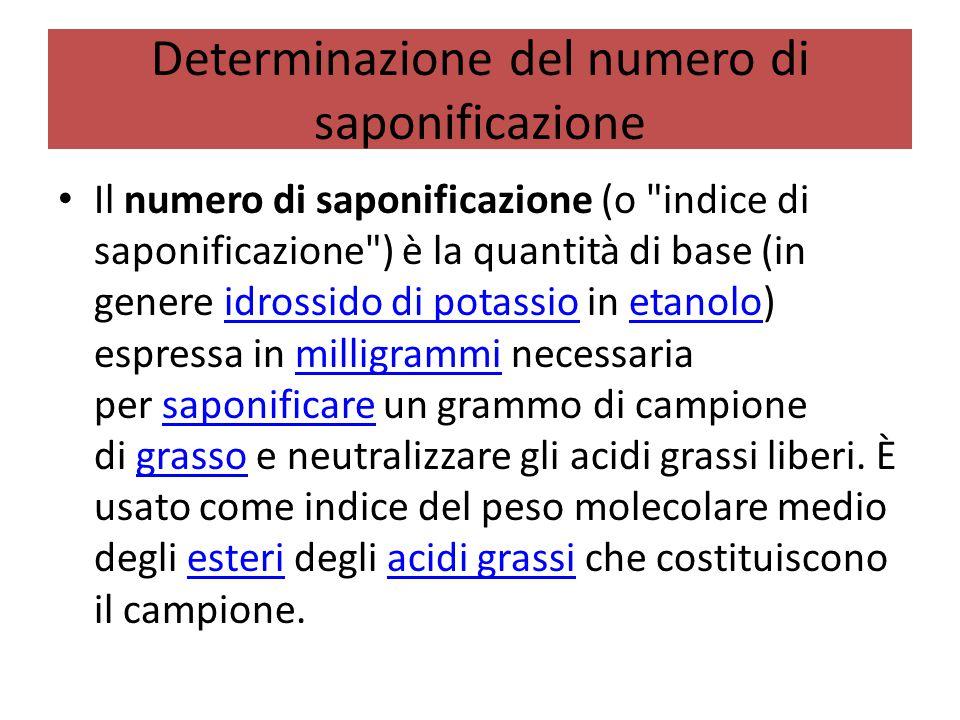Determinazione del numero di saponificazione Il numero di saponificazione (o