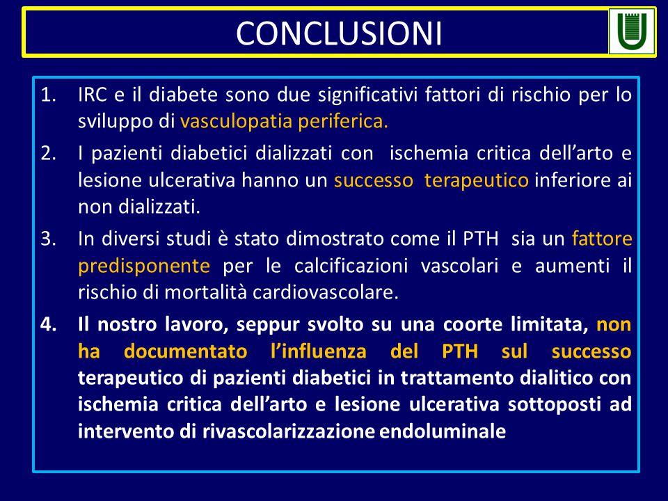1.IRC e il diabete sono due significativi fattori di rischio per lo sviluppo di vasculopatia periferica. 2.I pazienti diabetici dializzati con ischemi