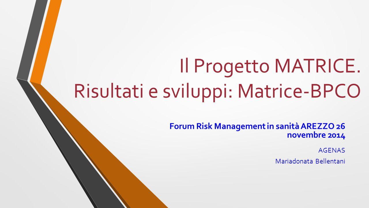 Il Progetto MATRICE. Risultati e sviluppi: Matrice-BPCO Forum Risk Management in sanità AREZZO 26 novembre 2014 AGENAS Mariadonata Bellentani