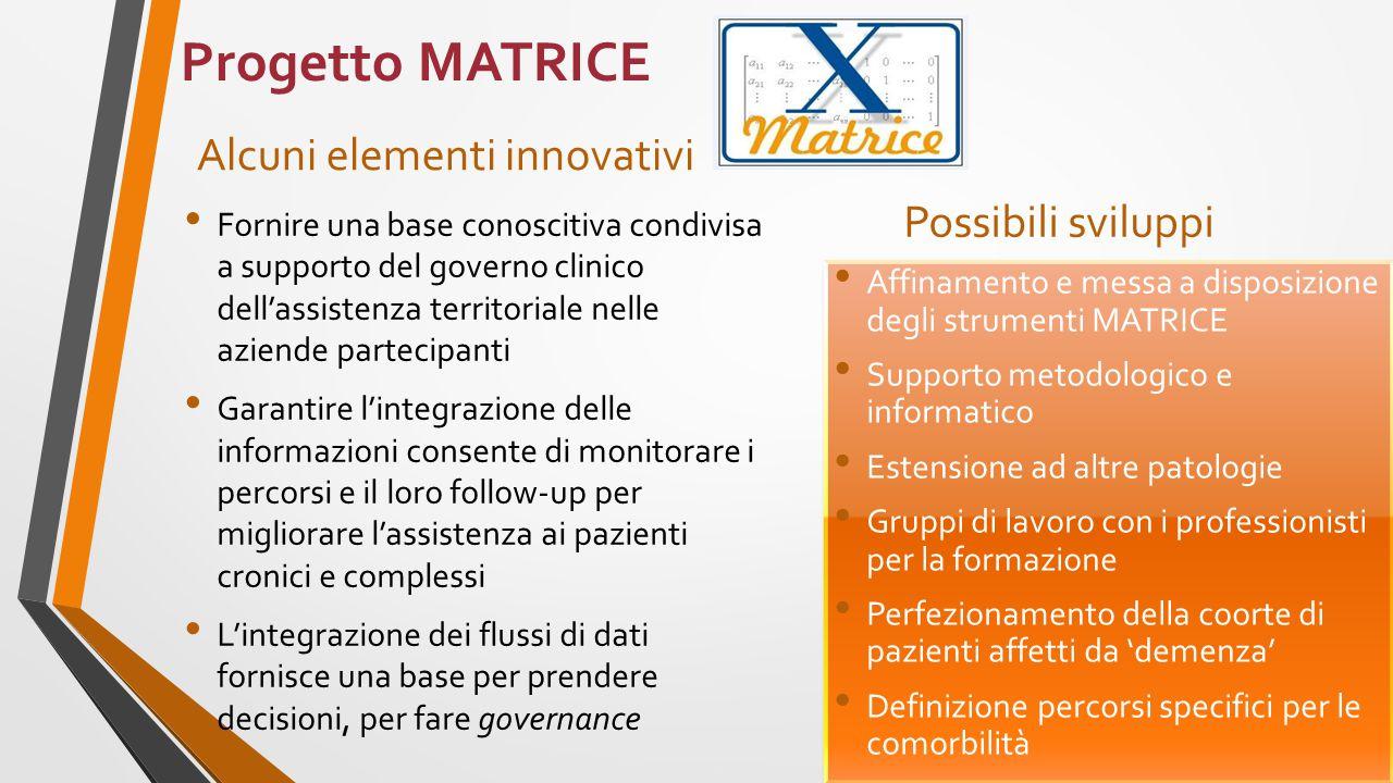 Progetto MATRICE Alcuni elementi innovativi Fornire una base conoscitiva condivisa a supporto del governo clinico dell'assistenza territoriale nelle a