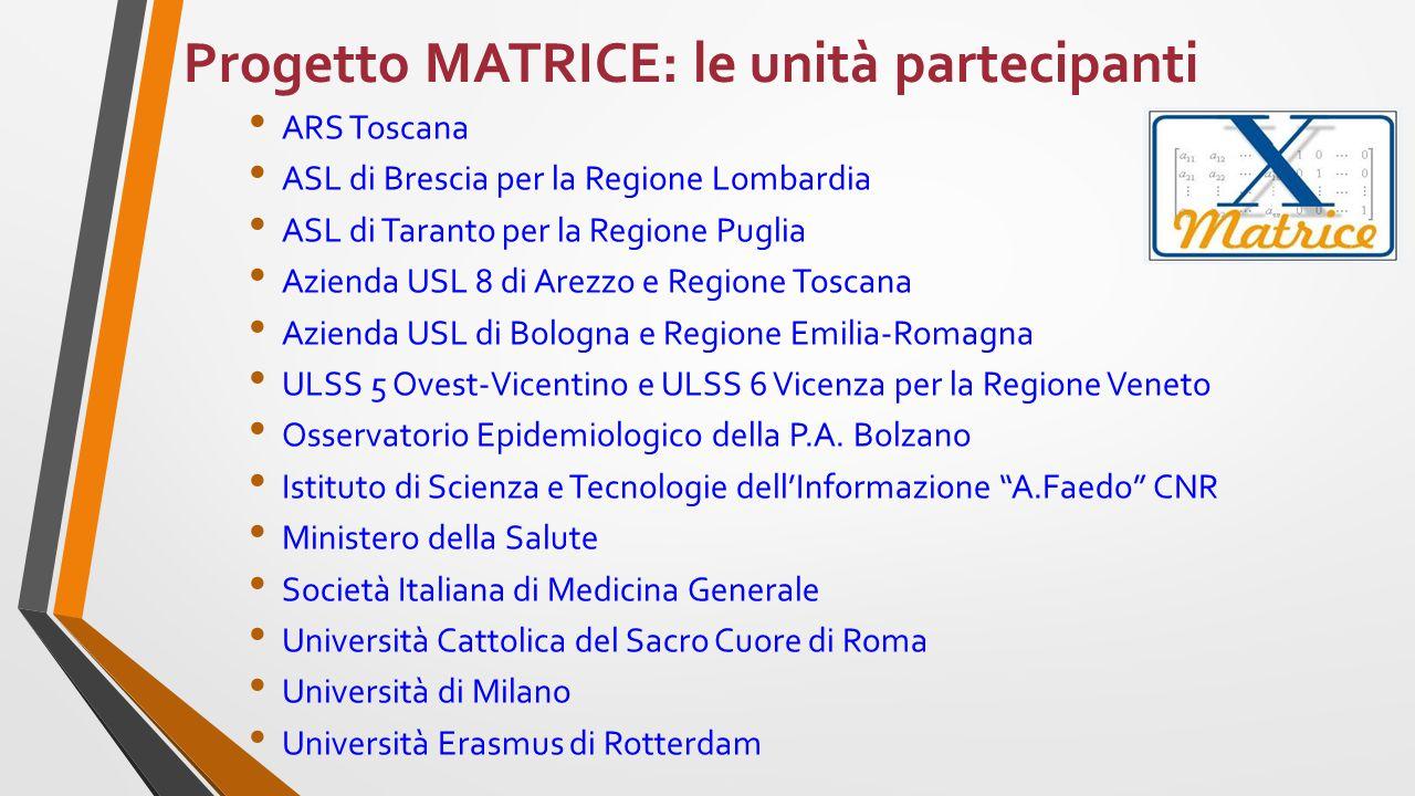 Progetto MATRICE: le unità partecipanti ARS Toscana ASL di Brescia per la Regione Lombardia ASL di Taranto per la Regione Puglia Azienda USL 8 di Arez