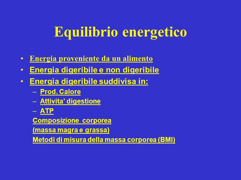 Equilibrio energetico Energia proveniente da un alimento Energia digeribile e non digeribile Energia digeribile suddivisa in: –Prod. Calore –Attivita'