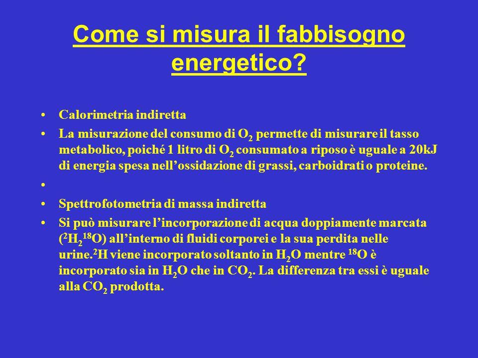 Come si misura il fabbisogno energetico? Calorimetria indiretta La misurazione del consumo di O 2 permette di misurare il tasso metabolico, poiché 1 l