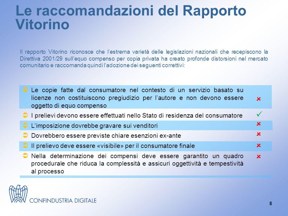 Le raccomandazioni del Rapporto Vitorino Il rapporto Vitorino riconosce che l'estrema varietà delle legislazioni nazionali che recepiscono la Direttiva 2001/29 sull'equo compenso per copia privata ha creato profonde distorsioni nel mercato comunitario e raccomanda quindi l'adozione dei seguenti correttivi:  Le copie fatte dal consumatore nel contesto di un servizio basato su licenze non costituiscono pregiudizio per l'autore e non devono essere oggetto di equo compenso  I prelievi devono essere effettuati nello Stato di residenza del consumatore  L'imposizione dovrebbe gravare sui venditori  Dovrebbero essere previste chiare esenzioni ex-ante  Il prelievo deve essere «visibile» per il consumatore finale  Nella determinazione dei compensi deve essere garantito un quadro procedurale che riduca la complessità e assicuri oggettività e tempestività al processo      8