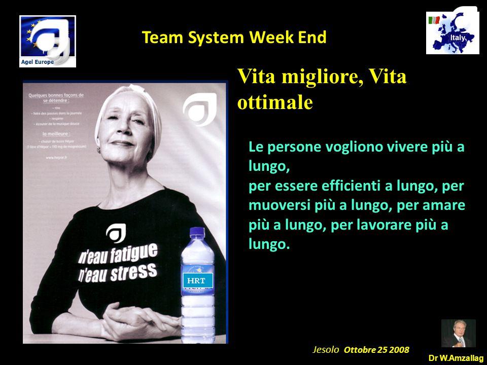 Dr W.Amzallag Jesolo Ottobre 25 2008 5 Team System Week End Vita migliore, Vita ottimale Le persone vogliono vivere più a lungo, per essere efficienti