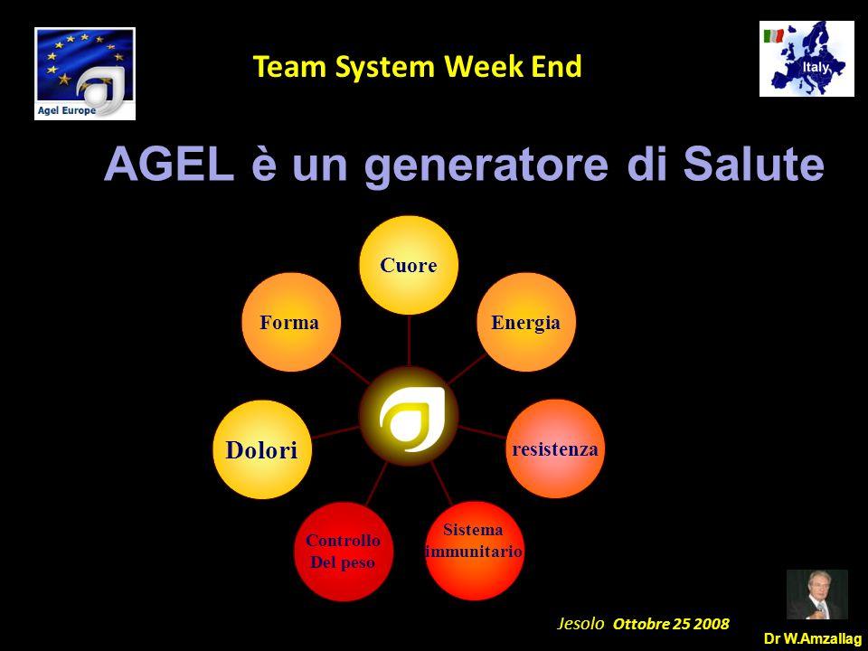 Dr W.Amzallag Jesolo Ottobre 25 2008 5 Team System Week End AGEL è un generatore di Salute Forma Dolori Controllo Del peso Sistema immunitario resistenza Energia Cuore