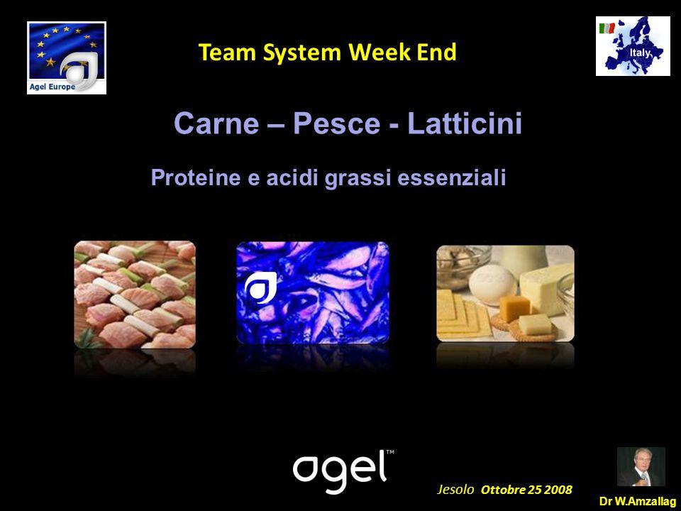 Dr W.Amzallag Jesolo Ottobre 25 2008 5 Team System Week End Carne – Pesce - Latticini Proteine e acidi grassi essenziali