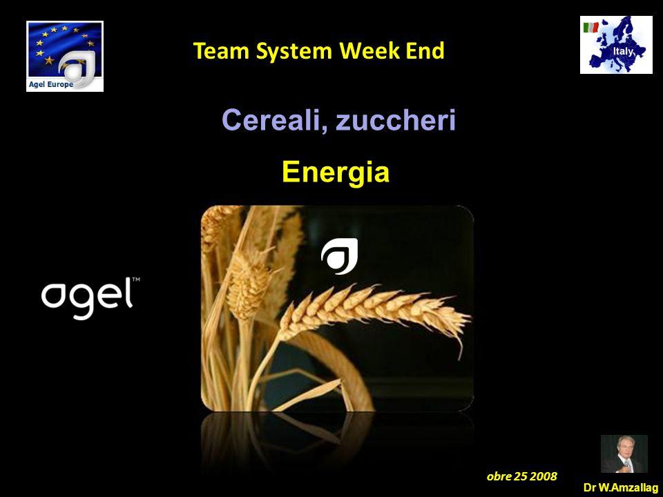 Dr W.Amzallag Jesolo Ottobre 25 2008 5 Team System Week End Cereali, zuccheri Energia
