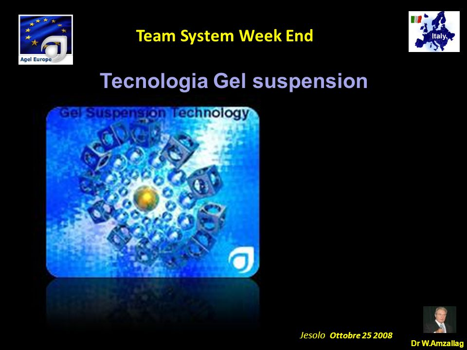 Dr W.Amzallag Jesolo Ottobre 25 2008 5 Team System Week End Tecnologia Gel suspension