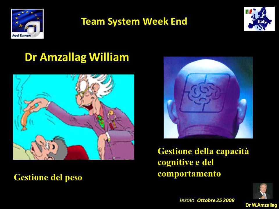 Dr W.Amzallag Jesolo Ottobre 25 2008 5 Team System Week End Dr Amzallag William Gestione del peso Gestione della capacità cognitive e del comportamento