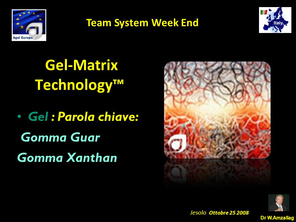 Dr W.Amzallag Jesolo Ottobre 25 2008 5 Team System Week End Gel-Matrix Technology™ Gel : Parola chiave: Gomma Guar Gomma Xanthan