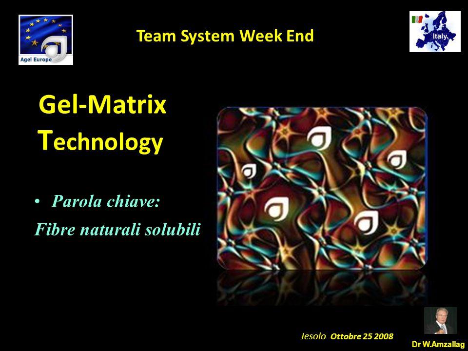 Dr W.Amzallag Jesolo Ottobre 25 2008 5 Team System Week End Gel-Matrix T echnology Parola chiave: Fibre naturali solubili