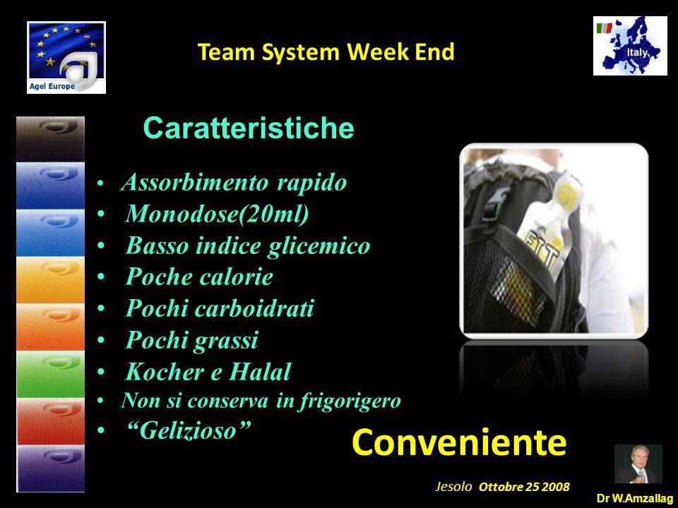 Dr W.Amzallag Jesolo Ottobre 25 2008 5 Team System Week End Caratteristiche Assorbimento rapido Monodose(20ml) Basso indice glicemico Poche calorie Po
