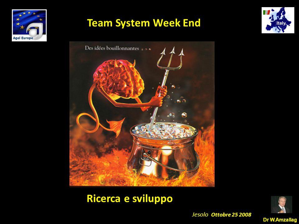 Dr W.Amzallag Jesolo Ottobre 25 2008 5 Team System Week End Formazione per I Team Member Affinchè il Team Member possa Apprezzare il mercato potenziale per ciascuna delle azioni benefiche sulla salute.