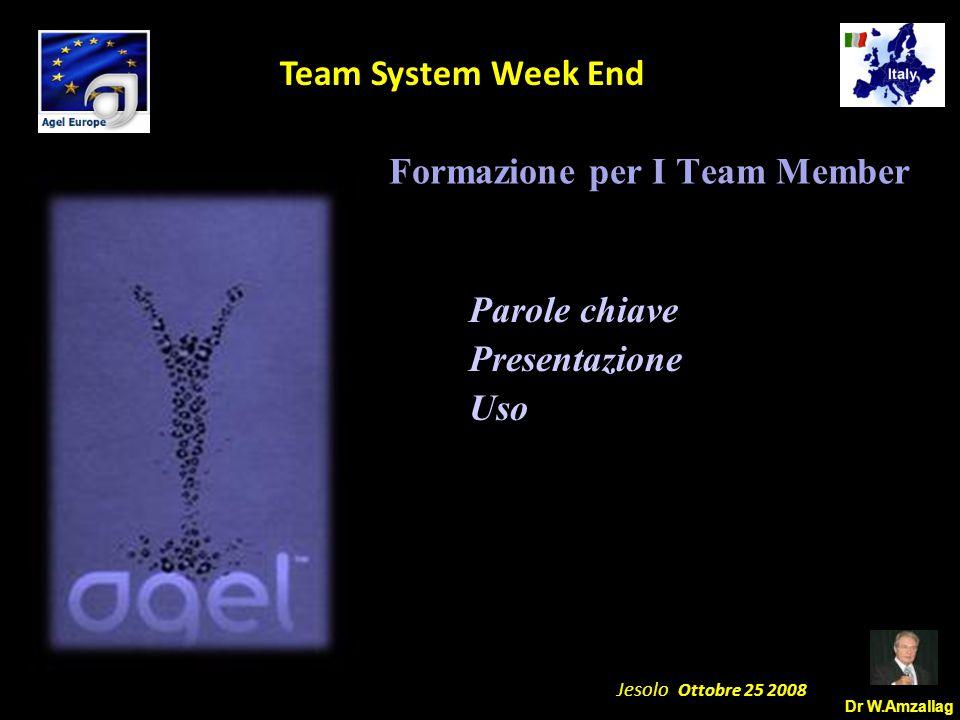 Dr W.Amzallag Jesolo Ottobre 25 2008 5 Team System Week End Formazione per I Team Member Parole chiave Presentazione Uso