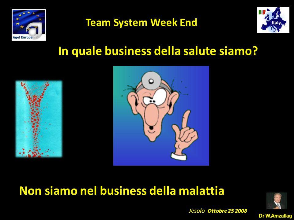 Dr W.Amzallag Jesolo Ottobre 25 2008 5 Team System Week End In quale business della salute siamo? Non siamo nel business della malattia