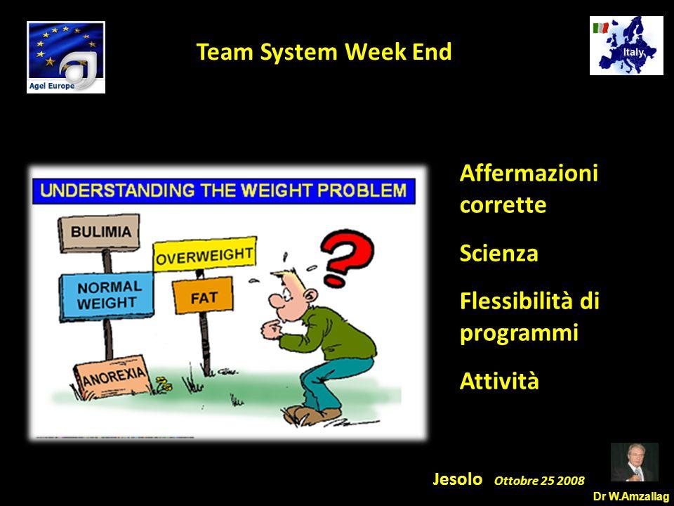 Dr W.Amzallag Jesolo Ottobre 25 2008 5 Team System Week End Affermazioni corrette Scienza Flessibilità di programmi Attività