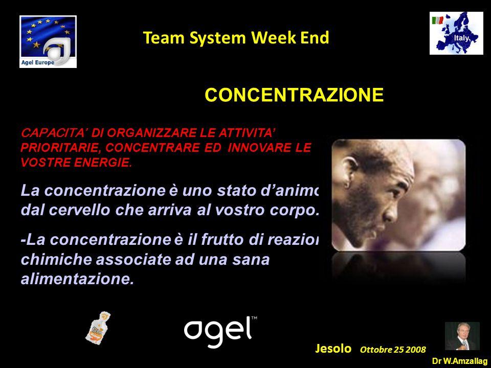 Dr W.Amzallag Jesolo Ottobre 25 2008 5 Team System Week End CONCENTRAZIONE CAPACITA' DI ORGANIZZARE LE ATTIVITA' PRIORITARIE, CONCENTRARE ED INNOVARE LE VOSTRE ENERGIE.
