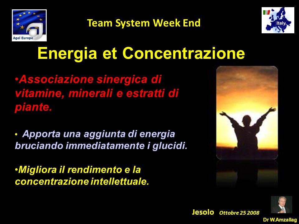 Dr W.Amzallag Jesolo Ottobre 25 2008 5 Team System Week End Energia et Concentrazione Associazione sinergica di vitamine, minerali e estratti di piante.