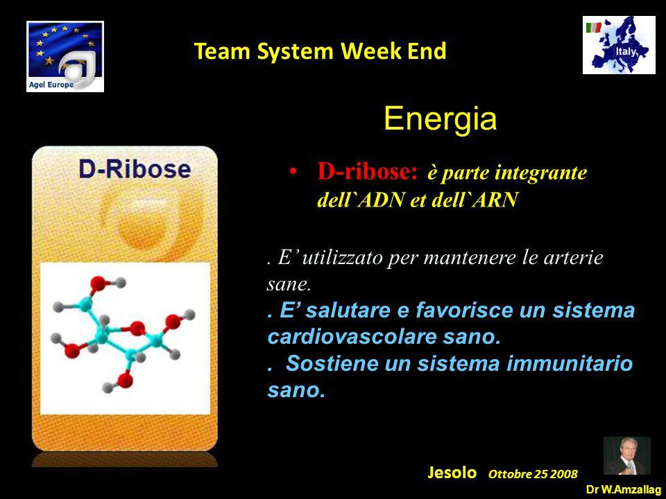Dr W.Amzallag Jesolo Ottobre 25 2008 5 Team System Week End D-ribose: è parte integrante dell`ADN et dell`ARN.