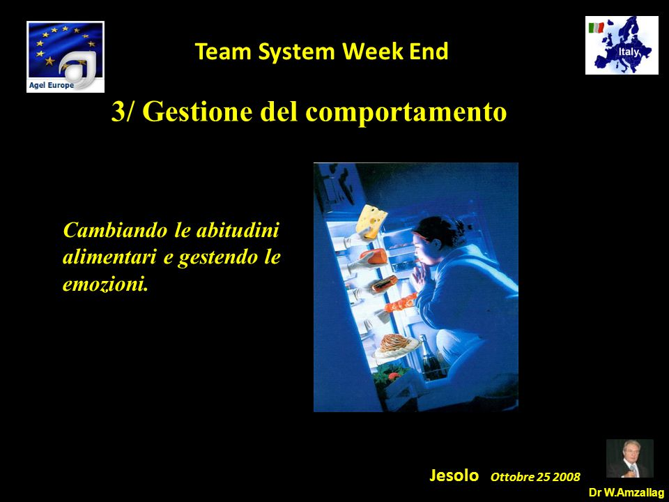 Dr W.Amzallag Jesolo Ottobre 25 2008 5 Team System Week End 3/ Gestione del comportamento Cambiando le abitudini alimentari e gestendo le emozioni.