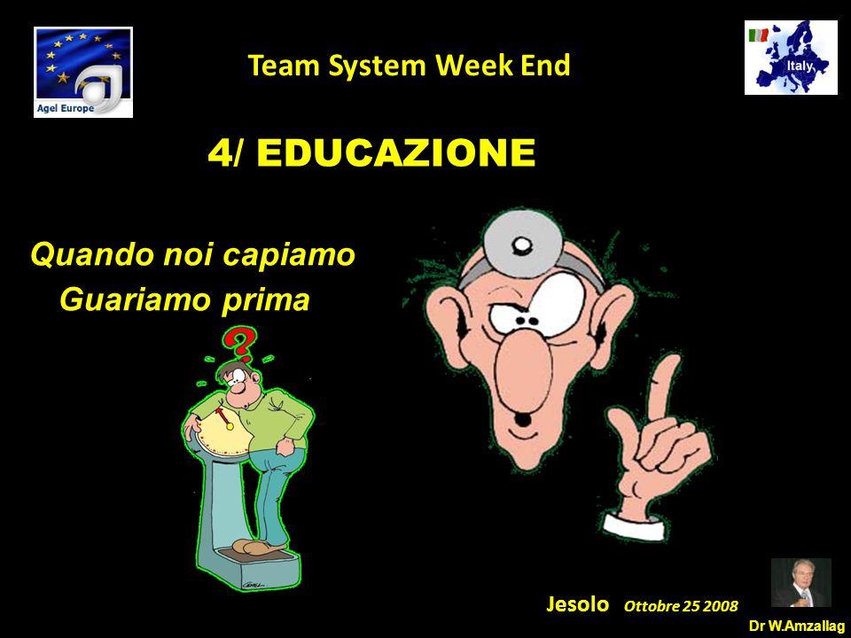 Dr W.Amzallag Jesolo Ottobre 25 2008 5 Team System Week End 4/ EDUCAZIONE Quando noi capiamo Guariamo prima
