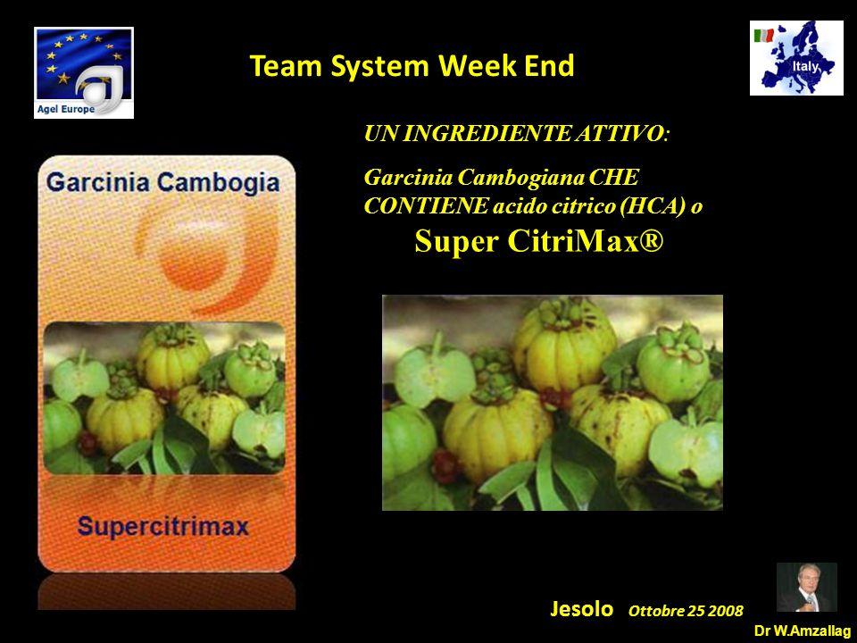 Dr W.Amzallag Jesolo Ottobre 25 2008 5 Team System Week End UN INGREDIENTE ATTIVO: Garcinia Cambogiana CHE CONTIENE acido citrico (HCA) o Super CitriMax®