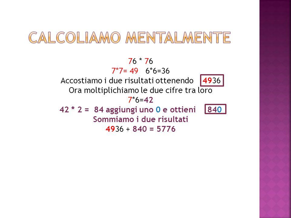 76 * 76 7*7= 49 6*6=36 Accostiamo i due risultati ottenendo 4936 Ora moltiplichiamo le due cifre tra loro 7*6=42 42 * 2 = 84 aggiungi uno 0 e ottieni 840 Sommiamo i due risultati 4936 + 840 = 5776