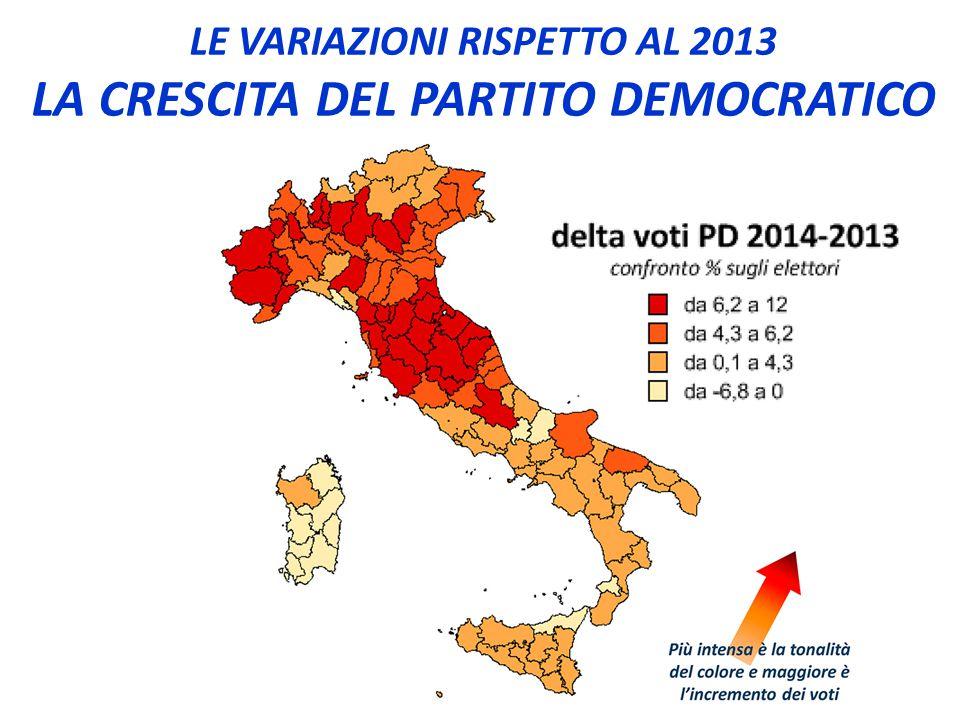 LE VARIAZIONI RISPETTO AL 2013 LA CRESCITA DEL PARTITO DEMOCRATICO