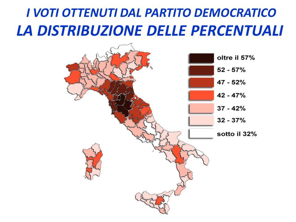 I VOTI OTTENUTI DAL PARTITO DEMOCRATICO LA DISTRIBUZIONE DELLE PERCENTUALI