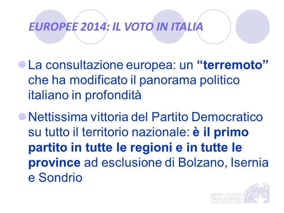 EUROPEE 2014: IL VOTO IN ITALIA Nonostante la bassa affluenza (58,7% ovvero quasi 7 milioni di voti in meno rispetto alle politiche 2013) il Partito Democratico guadagna: 2.513.716 voti in più rispetto al 2013 3.183.262 voti in più rispetto al 2009