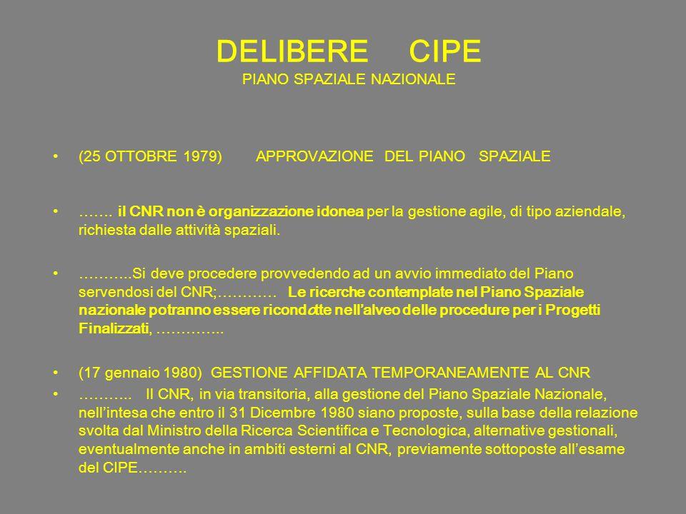 DELIBERE CIPE PIANO SPAZIALE NAZIONALE (25 OTTOBRE 1979) APPROVAZIONE DEL PIANO SPAZIALE …….
