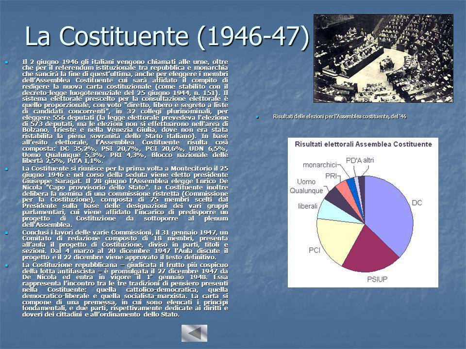 La Costituente (1946-47) Il 2 giugno 1946 gli italiani vengono chiamati alle urne, oltre che per il referendum istituzionale tra repubblica e monarchia che sancirà la fine di quest'ultima, anche per eleggere i membri dell'Assemblea Costituente cui sarà affidato il compito di redigere la nuova carta costituzionale (come stabilito con il decreto-legge luogotenenziale del 25 giugno 1944, n.