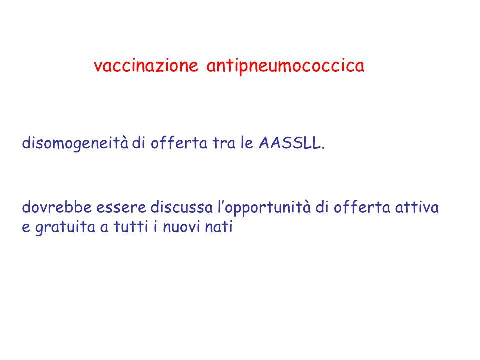 vaccinazione antipneumococcica disomogeneità di offerta tra le AASSLL. dovrebbe essere discussa l'opportunità di offerta attiva e gratuita a tutti i n