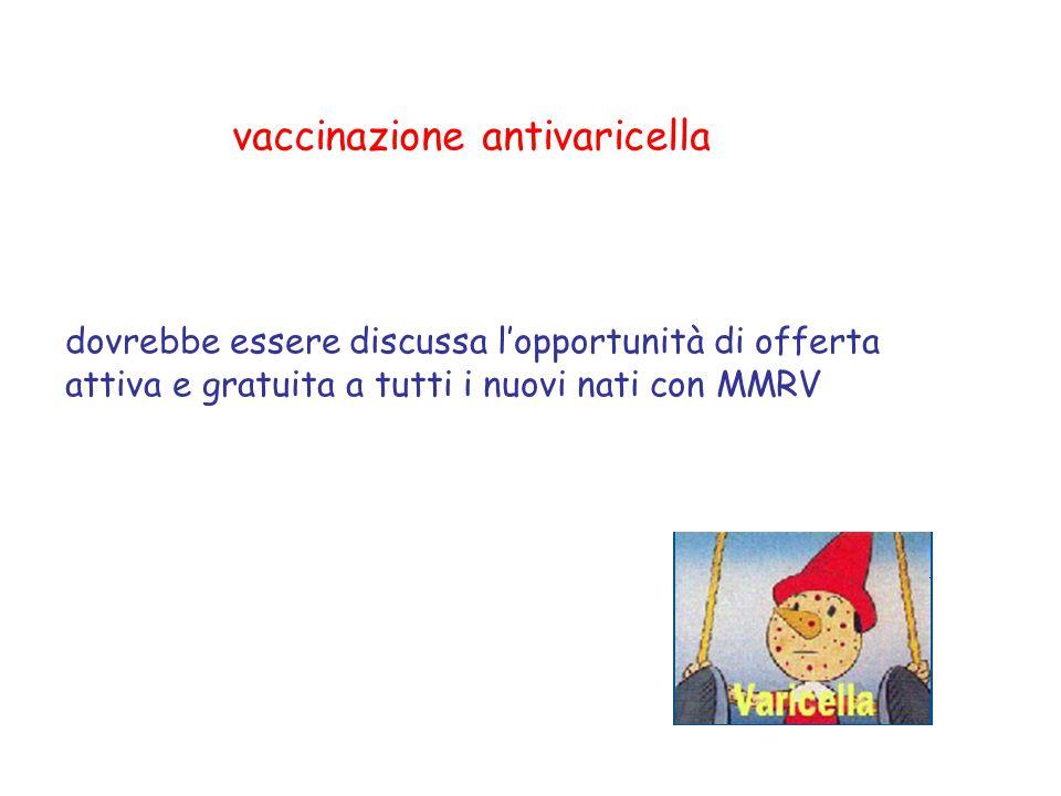 vaccinazione antivaricella dovrebbe essere discussa l'opportunità di offerta attiva e gratuita a tutti i nuovi nati con MMRV