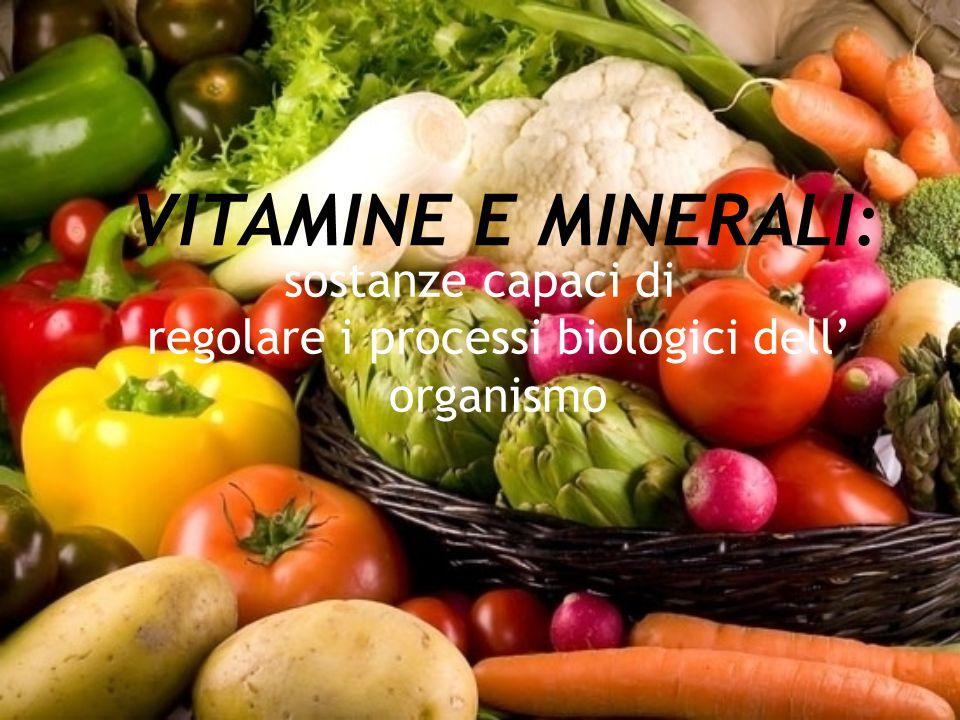 VITAMINE E MINERALI: sostanze capaci di regolare i processi biologici dell' organismo