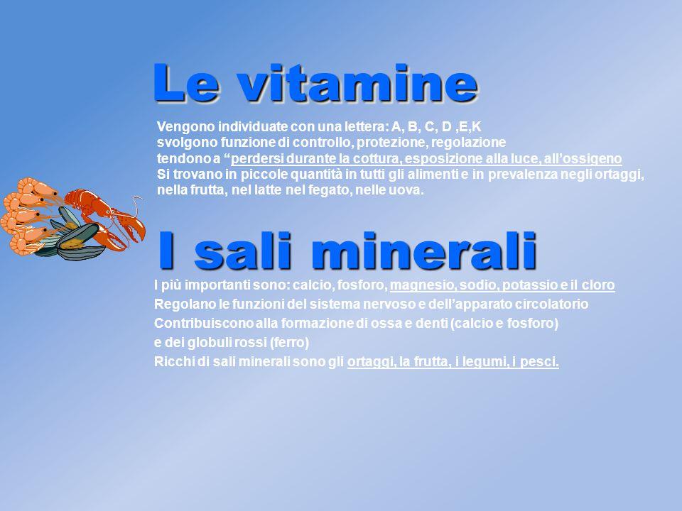 I sali minerali I più importanti sono: calcio, fosforo, magnesio, sodio, potassio e il cloro Regolano le funzioni del sistema nervoso e dell'apparato