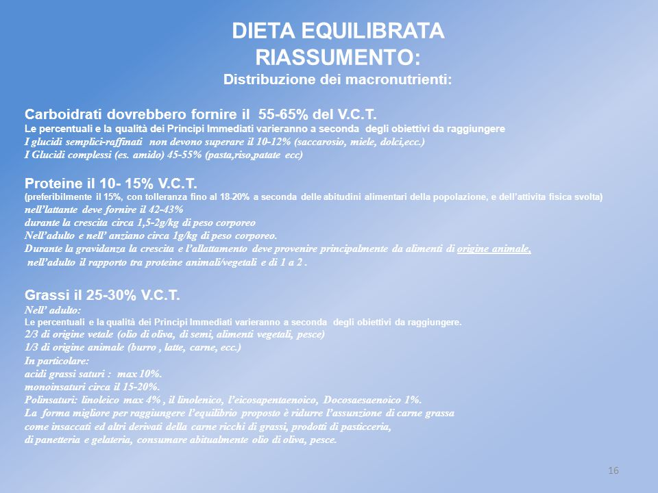 16 DIETA EQUILIBRATA RIASSUMENTO: Distribuzione dei macronutrienti: Carboidrati dovrebbero fornire il 55-65% del V.C.T. Le percentuali e la qualità de