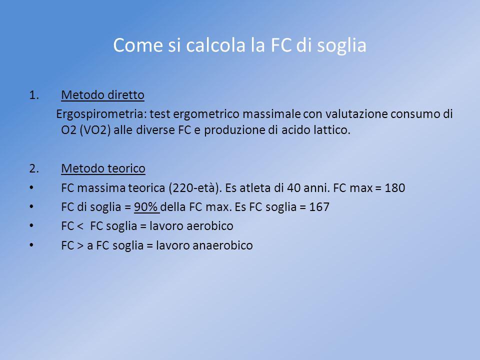 Come si calcola la FC di soglia 1.Metodo diretto Ergospirometria: test ergometrico massimale con valutazione consumo di O2 (VO2) alle diverse FC e pro