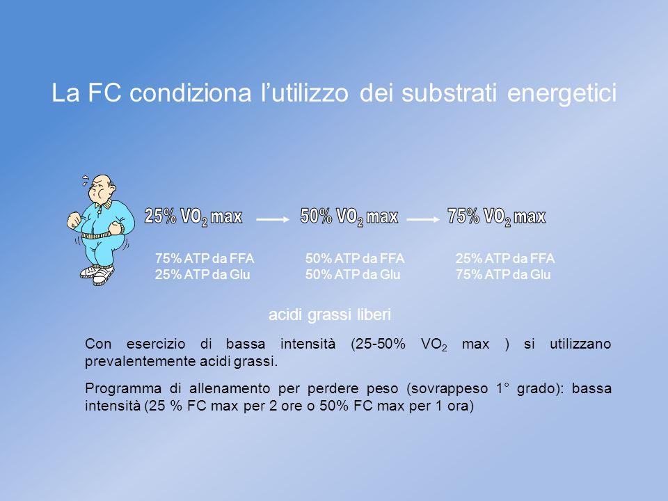 75% ATP da FFA 25% ATP da Glu 50% ATP da FFA 50% ATP da Glu 25% ATP da FFA 75% ATP da Glu Con esercizio di bassa intensità (25-50% VO 2 max ) si utili