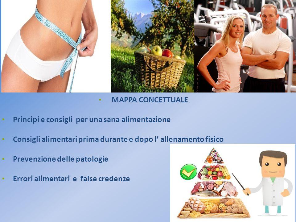 ▪ MAPPA CONCETTUALE ▪ Principi e consigli per una sana alimentazione ▪ Consigli alimentari prima durante e dopo l' allenamento fisico ▪ Prevenzione de