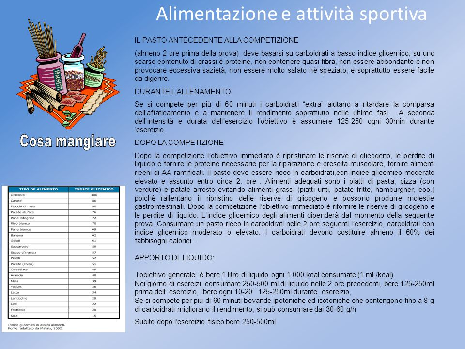 Alimentazione e attività sportiva IL PASTO ANTECEDENTE ALLA COMPETIZIONE (almeno 2 ore prima della prova) deve basarsi su carboidrati a basso indice g
