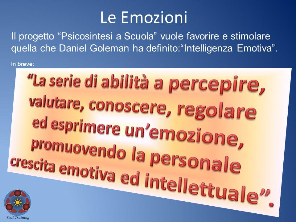 """Le Emozioni Il progetto """"Psicosintesi a Scuola"""" vuole favorire e stimolare quella che Daniel Goleman ha definito:""""Intelligenza Emotiva"""". In breve:"""