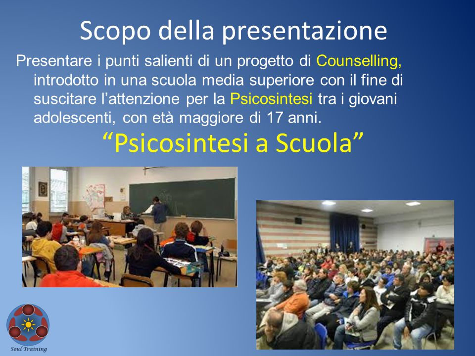 Presentare i punti salienti di un progetto di Counselling, introdotto in una scuola media superiore con il fine di suscitare l'attenzione per la Psico