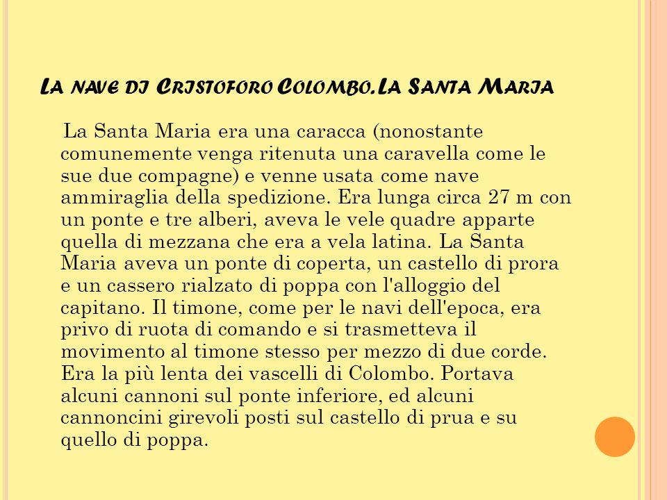 L A NAVE DI C RISTOFORO C OLOMBO. L A S ANTA M ARIA La Santa Maria era una caracca (nonostante comunemente venga ritenuta una caravella come le sue du