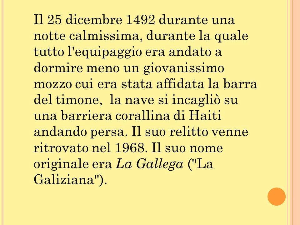 Il 25 dicembre 1492 durante una notte calmissima, durante la quale tutto l'equipaggio era andato a dormire meno un giovanissimo mozzo cui era stata af